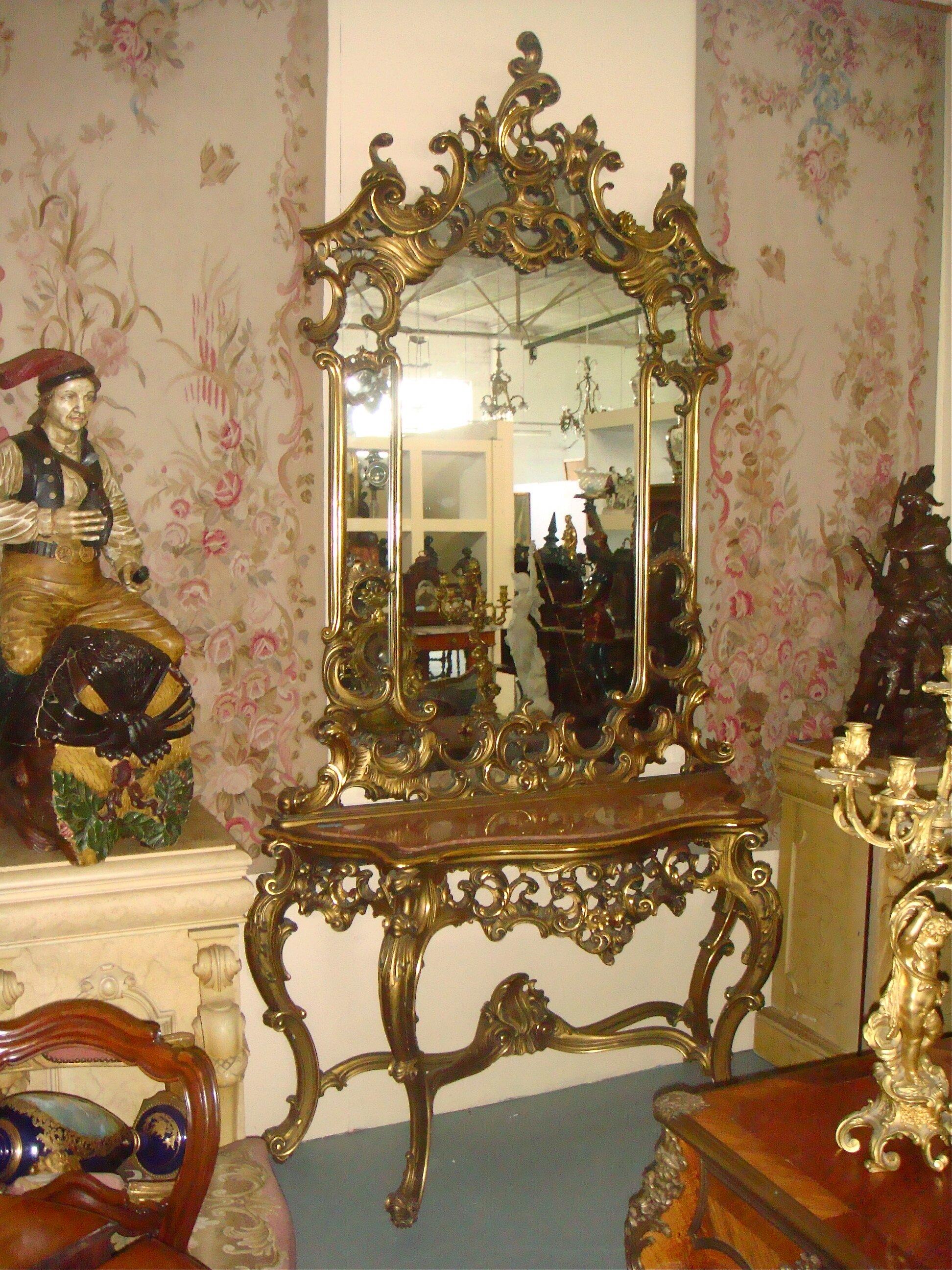 Антикварная Консоль с зеркалом. 19 век