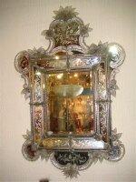 61. Антикварное Венецианское зеркало. Рама из травлённого стекла с гравировкой. Около 1850 года. 148x95 см. Цена 7000 евро.