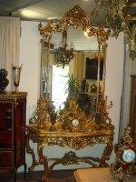 Антикварная Консоль с зеркалом. 19 век. 160x50x280 см