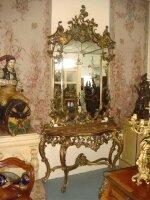 Антикварная Консоль с зеркалом. 19 век. 295x150x50 см. Цена 9000 евро