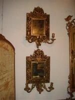 Пара антикварных зеркал с подсвечниками из бронзы. 19 век. 38x67 см. Цена 3000 евро