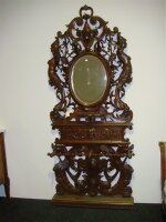Антикварная резная вешалка с зеркалом для прихожей. 19 век. 119x240 см. Цена 5000 евро