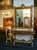 Зеркало антикварное с консолью. Дерево, резьба, золочение. XIX век. 240x137x38 см. 4000 евро